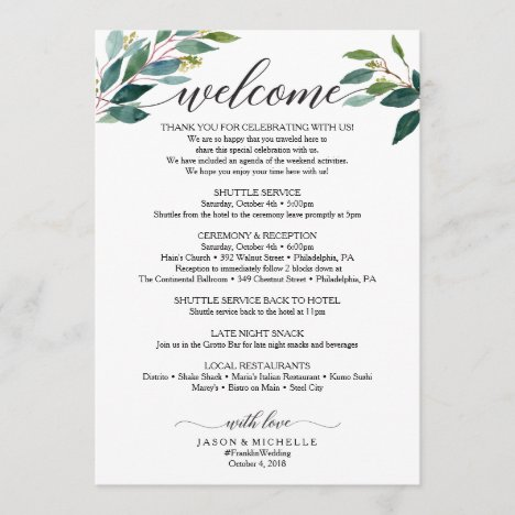 Greenery Script Wedding Itinerary Wedding Welcome Program