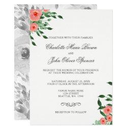 Peach Flowers Floral Wedding invitations Set