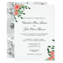 Greenery Simple Peach Flowers Wedding invitations