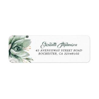 Greenery - Succulent Watercolor Wedding Label