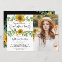 Greenery Sunflowers Graduation Party Photo Invitation