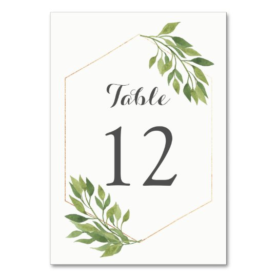 Greenery table number card gold geometric frame | Zazzle.com