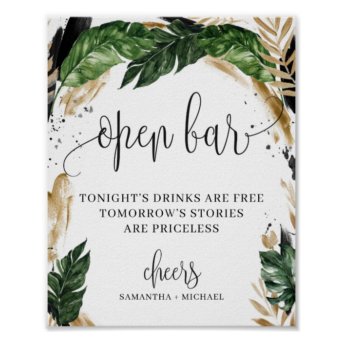 Greenery Tropical Leaves Flowers Open Bar Sign Zazzle Com Tropical party decoration supplies 8 tropical palm monstera leaves. zazzle