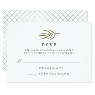 Greenery | Watercolor Botanical Wedding RSVP Card