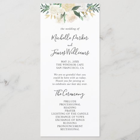 Greenery Watercolor Floral Wedding Program