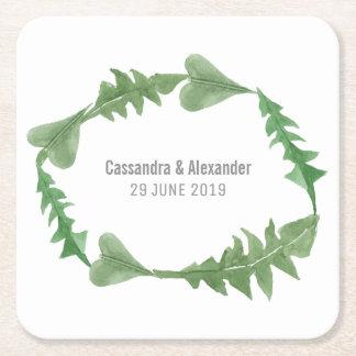 Greenery Watercolor Foliage Wedding Square Paper Coaster