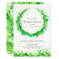 Greenery watercolor grass bridal shower invites