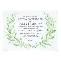 Greenery Watercolor Laurel Wreath Wedding Card at Zazzle