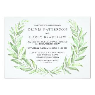 Greenery Watercolor Laurel Wreath Wedding Card