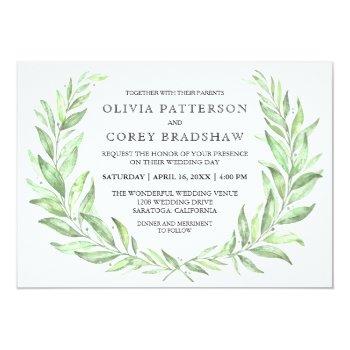 Greenery Watercolor Laurel Wreath Wedding Card by Oasis_Landing at Zazzle