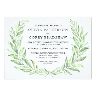 oasis_landing Greenery Watercolor Laurel Wreath Wedding Card