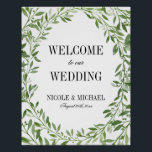 "Greenery Watercolor Leaf Wreath Wedding Welcome Poster<br><div class=""desc"">Formal greenery watercolor laurel wreath wedding welcome sign. A modern design perfect for a rustic chic wedding.</div>"
