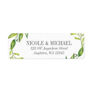 Greenery Watercolor Wreath Return Address Label