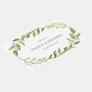 Greenery Watercolor Wreath Wedding Guest Book