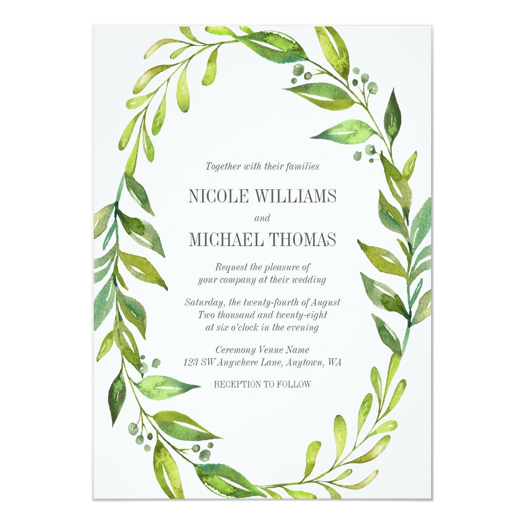 Watercolor Greenery Wedding Invitation