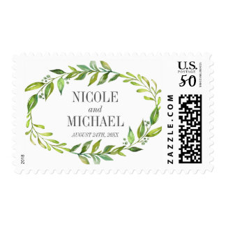 Greenery Watercolor Wreath Wedding Postage