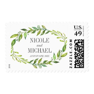 Greenery Watercolor Wreath Wedding Postage Stamps at UniqueRusticWeddingInvitations.com