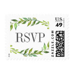 Greenery Watercolor Wreath Wedding RSVP Postage