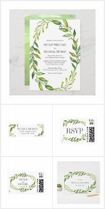 Greenery Watercolor Wreath Wedding Suite