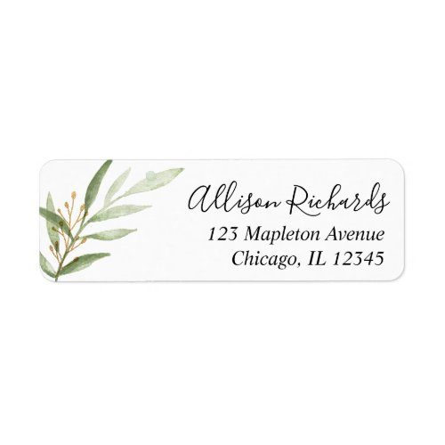 Greenery watercolors green gold leaves label