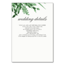 greenery wedding details card