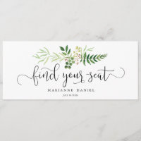 Greenery wedding find your seat sign