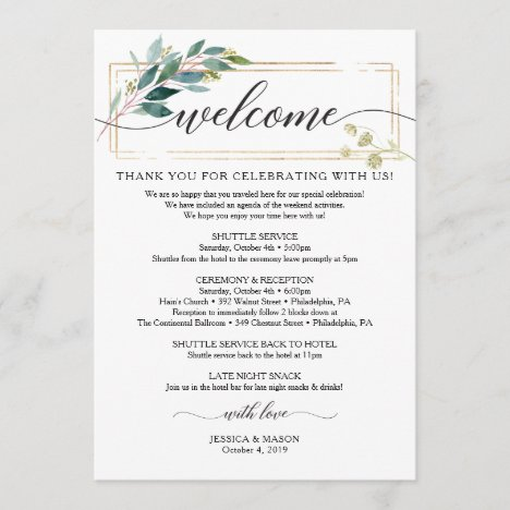 Greenery Wedding Itinerary - Wedding Welcome Program