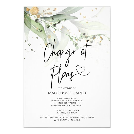 Greenery Wedding Postponed Notes Change of Plans Invitation
