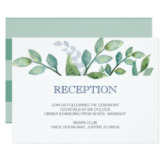 GREENERY Wedding Reception Card
