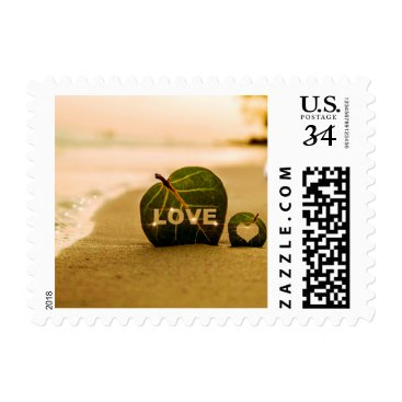 """Beach Themed Greenery Wedding """"Save the Date"""" for Love Postage"""
