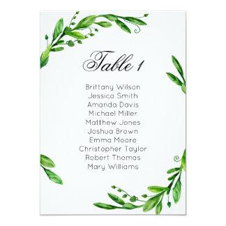 Greenery wedding seating chart. Summer table plan Card