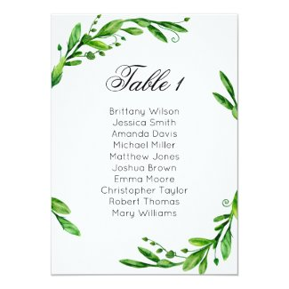 Greenery wedding seating chart. Summer table plan Invitation
