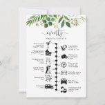 "Greenery wedding timeline and guest itinerary advice card<br><div class=""desc"">A greenery wedding itinerary and welcome card with a watercolor foliage illustration. Using pictogram icons, let your guests know of your itinerary for your big day & ensure no one misses out on any of your agenda during the whole event. With a welcome message on the front these are perfect...</div>"