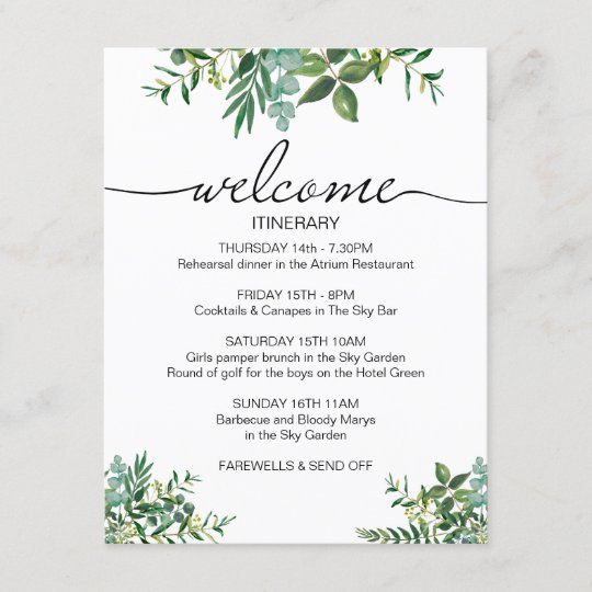 greenery wedding weekend itinerary welcome card enclosure card
