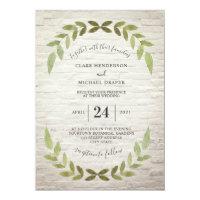 Greenery White Brick Wedding Invitation