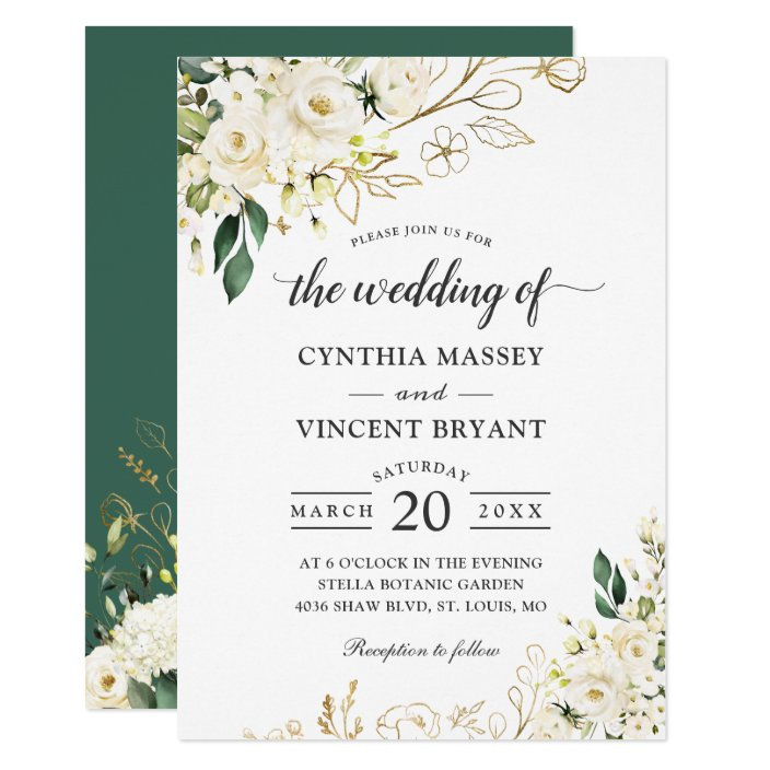 Greenery White Rose Floral Gold Leaves Wedding Invitation Zazzle