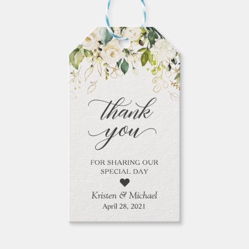 Greenery White Rose Floral Wedding Favor Thank You Gift Tags