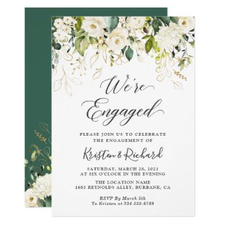 Greenery White Roses Gold Floral Engagement Party Invitation