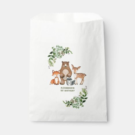 Greenery Woodland Animals Birthday Baby Shower Favor Bag