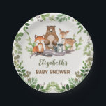 """Greenery Woodland Baby Animals Shower 1st Birthday Paper Plate<br><div class=""""desc"""">Woodland themed paper plate featuring adorable illustration of forest animals: fox,  bear,  raccoon and deer</div>"""