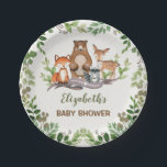 "Greenery Woodland Baby Animals Shower 1st Birthday Paper Plate<br><div class=""desc"">Woodland themed paper plate featuring adorable illustration of forest animals: fox,  bear,  raccoon and deer</div>"