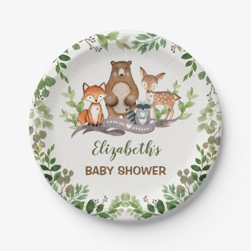 Greenery Woodland Baby Animals Shower 1st Birthday Paper Plate