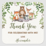 "Greenery Woodland Forest Birthday Baby Shower Square Sticker<br><div class=""desc"">This design features illustration of rustic watercolor greens,  foliages and adorable forest animals: fox,  deer,  bear and raccoon</div>"