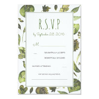 Greenery Woodland Watercolor Wedding RSVP Card