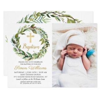 Greenery Wreath Gold Cross Boy Baptism Photo Invitation