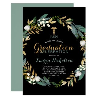 Greenery Wreath Nurse Graduation Party Invitation