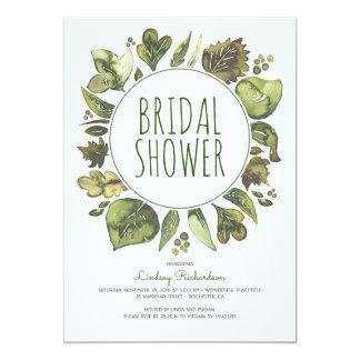 Greenery Wreath Rustic Woodland Leaf Bridal Shower Card