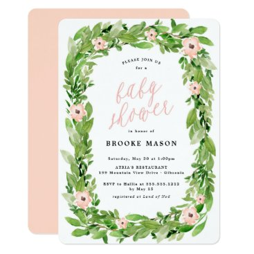 Toddler & Baby themed Greenery Wreath Spring Baby Shower Invitation