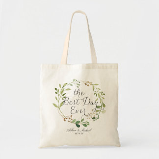Greenery Wreath the Best Day Ever Tote Bag