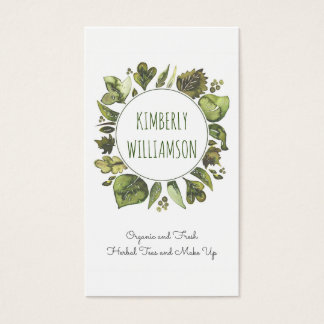Greenery Wreath Watercolor Laurel Leaves Organic Business Card